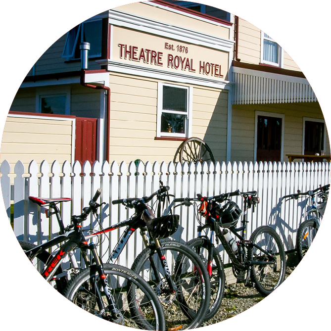 Bicycles parked next to The Royal Theatre